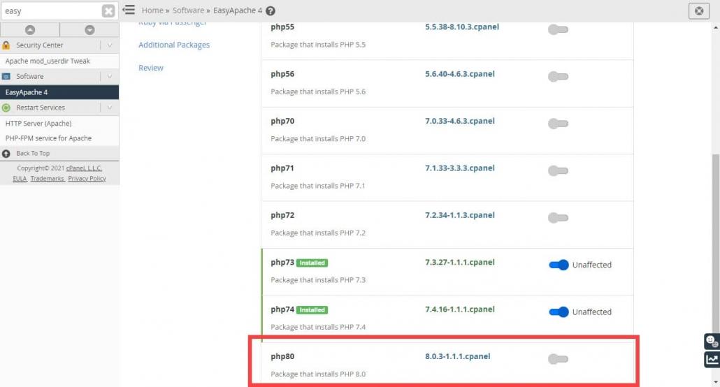 WordPress ブログにPHP 8.0を適用