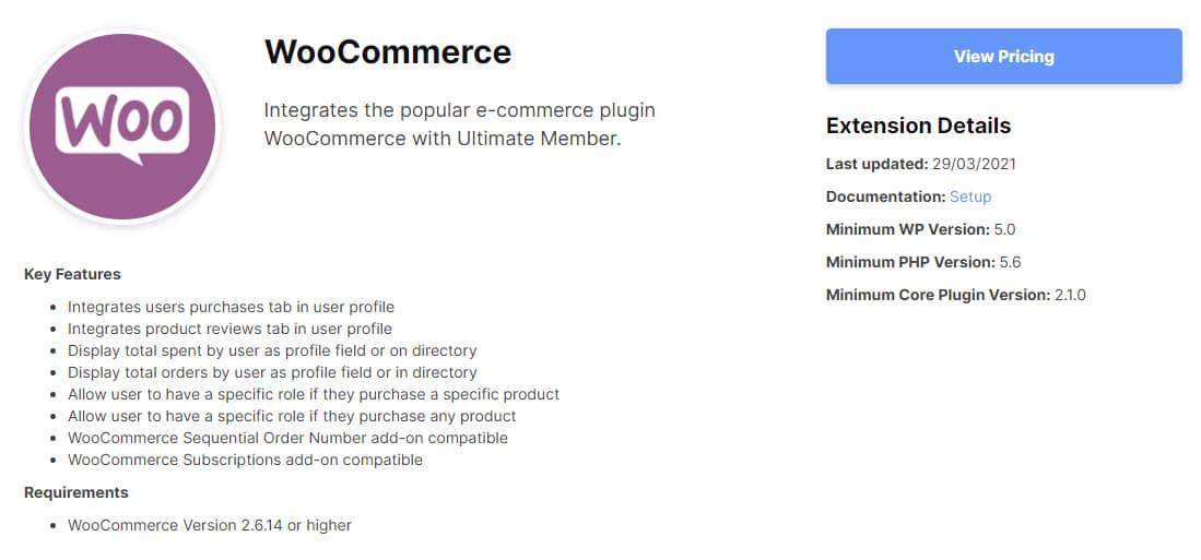 우커머스 통합을 위한 Ultimate Member의 WooCommerce 익스텐션