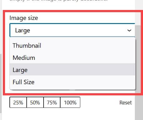 워드프레스 이미지 크기 설정 - 영어 버전