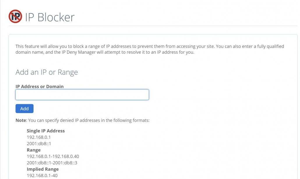 블루호스트 cPanel IP Blocker 툴을 사용하여 IP 주소 차단하기