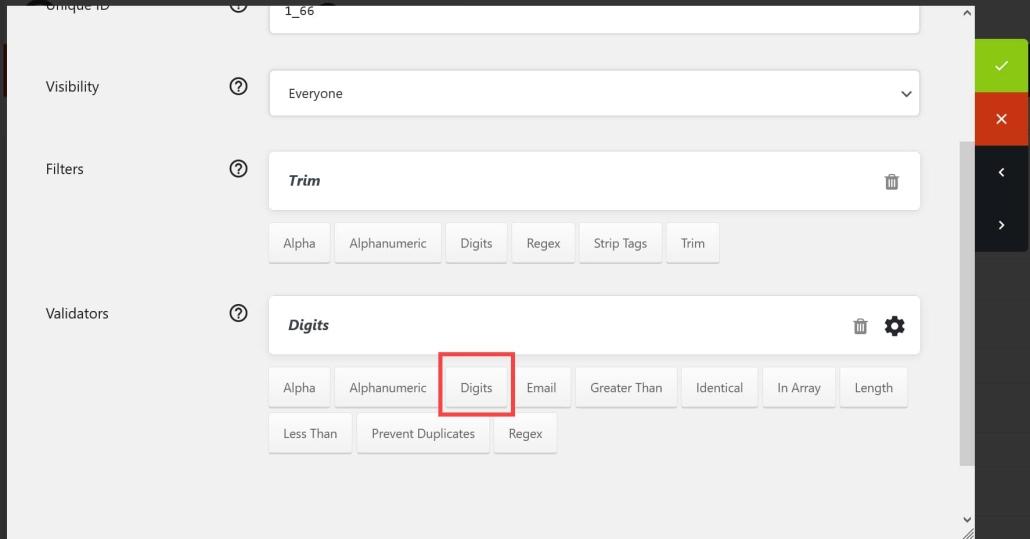 워드프레스 Quform 플러그인 숫자 입력 필드- 숫자 유효성 검사기